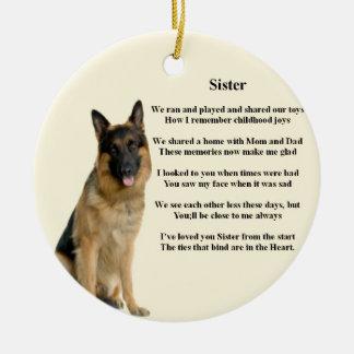 Sister Poem - German Shepherd Dog Round Ceramic Decoration