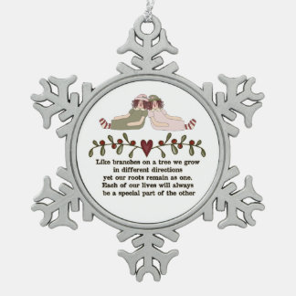 Sister Poem Holiday Christmas Snowflake ornament