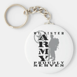 Sister Proudly Serves - ARMY Basic Round Button Key Ring