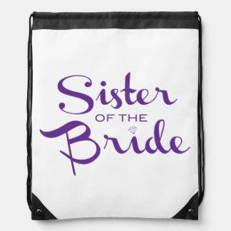Sister Retro Script Purple Drawstring Backpack