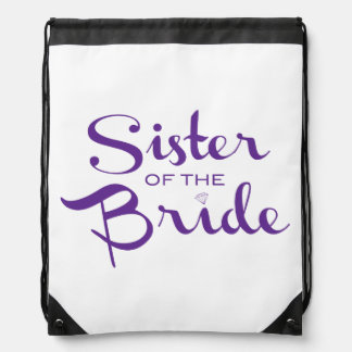 Sister Retro Script Purple Drawstring Backpack