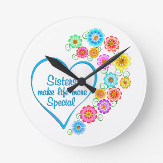 Sister Special Heart Round Clock