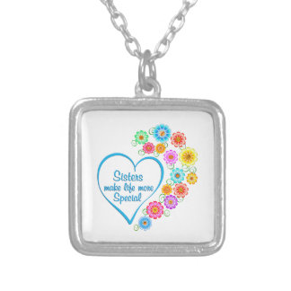 Sister Special Heart Silver Plated Necklace