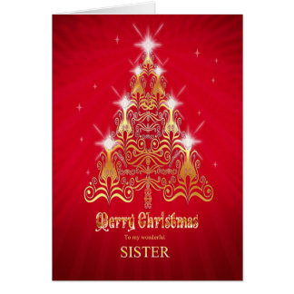 Sister, Stylized Christmas tree Christmas card