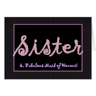 SISTER Thank You Maid of Honour - Plaid Lettering Greeting Card