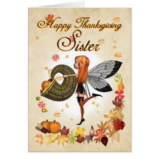 Sister - Thanksgiving Card - Cute Little Pumpkin F
