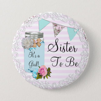 Sister to be Blue Mason Jar Pink Rustic Button