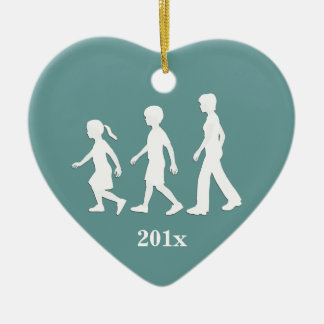 Sisters and Brother: Sibling Silhouettes Ceramic Heart Decoration