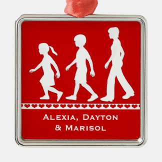 Sisters and Brother: Sibling Silhouettes Silver-Colored Square Decoration