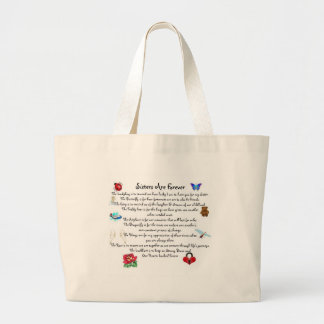 Sisters Are Forever Poem Large Tote Bag