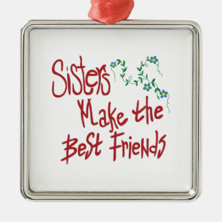 Sisters Best Friends Silver-Colored Square Decoration