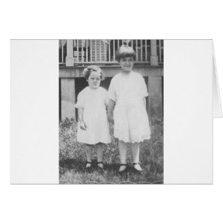 Sisters Dressed Up in Sunday Best 1920's Card