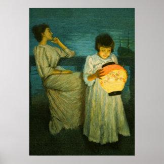 Sisters Evening Lantern Sclittgen Vintage Art Girl Poster
