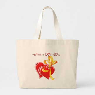 Sisters For Ever Hearts Large Tote Bag