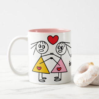 Sisters Forever Adorable Stick Figure Sisters Mug