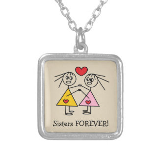 Sisters Forever Adorable Stick Figure Sisters Silver Plated Necklace