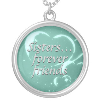 Sisters Forever Friends Aqua Green Hearts Love Silver Plated Necklace