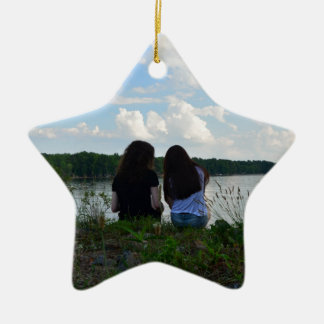 Sisters/Friends Double-Sided Star Ceramic Christmas Ornament