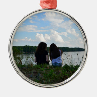 Sisters/Friends Silver-Colored Round Ornament