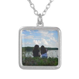 Sisters/Friends Square Pendant Necklace