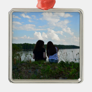 Sisters/Friends Silver-Colored Square Decoration