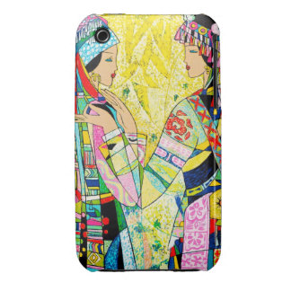 Sisters Hao Ping oriental abstract ladies girls iPhone 3 Case-Mate Cases