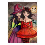 Sisters of Halloween Gothic Fantasy Art Greeting Card