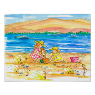 Sisters Playing At The Beach Watercolor Poster