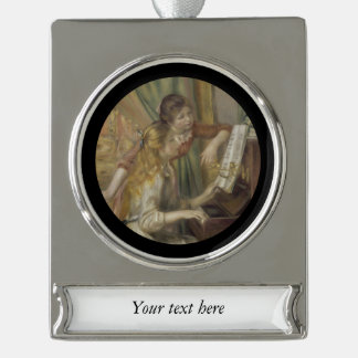 Sisters Playing the Piano Silver Plated Banner Ornament