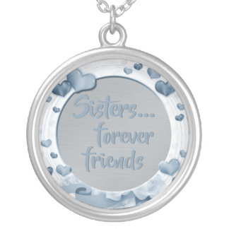Sisters Quote | Forever Friends Hearts Blue Silver Plated Necklace