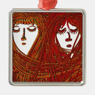 Sisters Silver-Colored Square Decoration