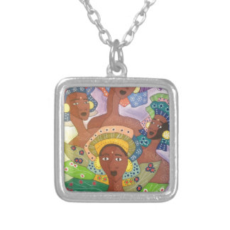 sisters silver plated necklace