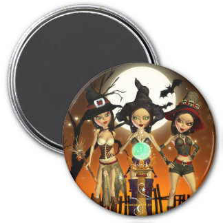 Sisters Three Witch Art Round Magnet