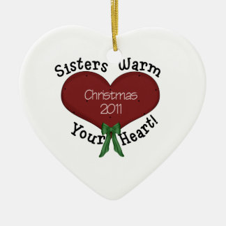 Sisters Warm Your Heart Christmas 2011 Ceramic Heart Decoration