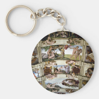 Sistine Chapel, Vatican, Rome, Italy Basic Round Button Key Ring