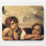 Sistine Madonna Angels by Raphael, Renaissance Art Mouse Pads