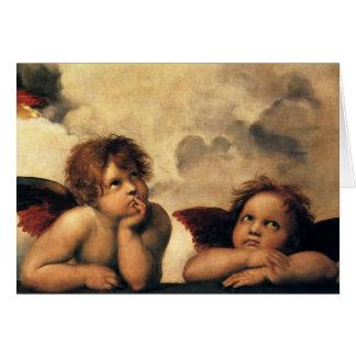 Sistine Madonna, Angels detail by Raphael Card