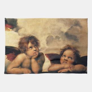 Sistine Madonna, Angels detail by Raphael Tea Towel