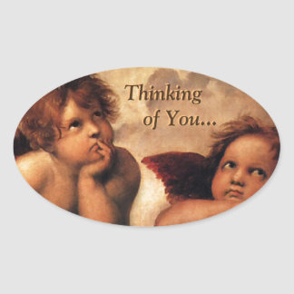 Sistine Madonna Thinking of You... Oval Sticker