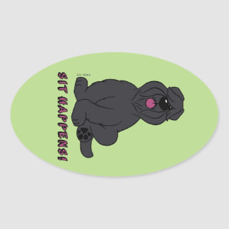 Sit happens oval sticker