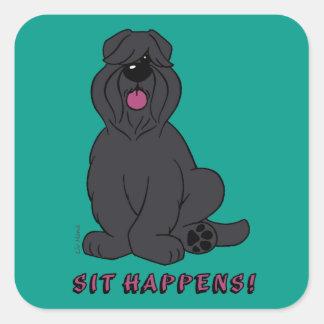 Sit happens square sticker