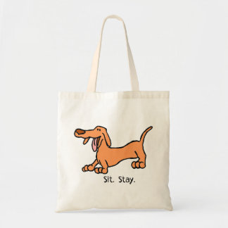 Sit Stay Cartoon Dachshund Dog Bag