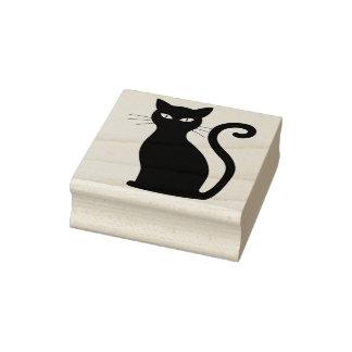 Sitting black cat art stamp