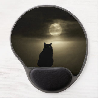 Sitting Black Cat in Moonlight Gel Mouse Pad