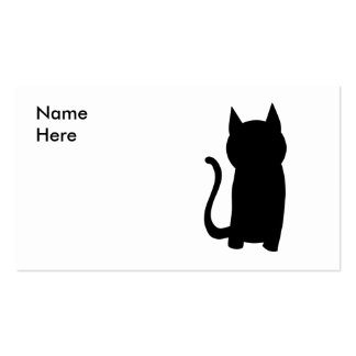 Sitting Black Cat Silhouette. Business Cards