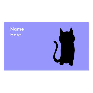 Sitting Black Cat Silhouette. Business Card Template