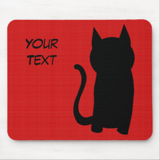 Sitting Black Cat Silhouette. Mouse Pad