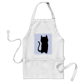 Sitting Black Cat Silhouette. On pale blue check. Adult Apron