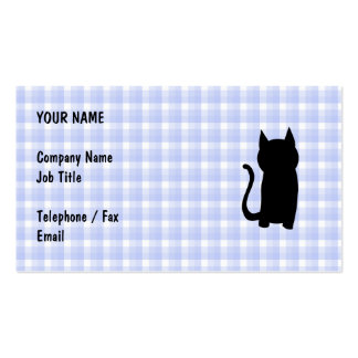 Sitting Black Cat Silhouette. On pale blue check. Business Card Template