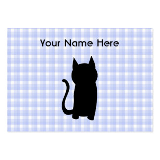 Sitting Black Cat Silhouette. On pale blue check. Business Cards